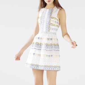 BCBG Cecile Lace And Print-Blocked Dress